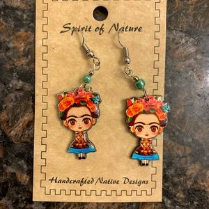Hand Crafted Frida Khalo Animated Earrings
